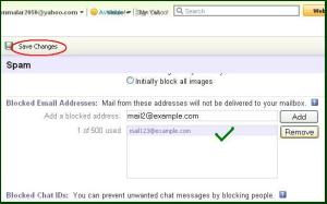 Block emails in yahoomail